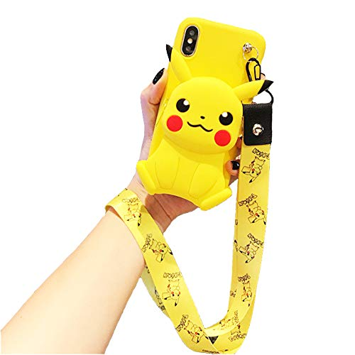 Homi2019 Cartoon Handykette Hülle kompatibel mit Oppo R7 Plus, Necklace Hülle mit Schnur Kordel Silikon Case Wallet Handytasche Tasche Cartoon Schutzhülle-【Pikachu】