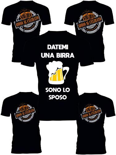 Pacchetto Tshirt Addio al Celibato - Datemi Una Birra, Sono Lo Sposo - Drinking Team - festeggia l'addio al Celibato dei Tuoi Amici più Cari