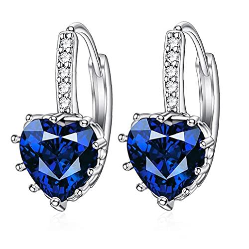Sanfiyya Heart Shape Earrings Zircon Rhinestone Dangle Ear Hoop Hypoallergenic Women Charming Wedding Jewelry Navy Blue
