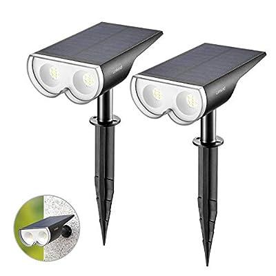Linkind 16 LED Solar Landscape Spotlights, Dusk-to-Dawn IP67 Waterproof Solar Powered Spot Lights, 6500K Daylight White, Outdoor Wall Lights for Garden Yard Driveway Porch Walkway, 2 Pack
