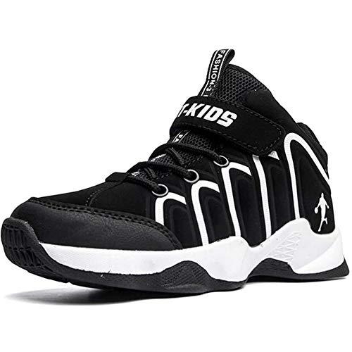 LMMZ Zapatos de Baloncesto de los niños, Muchachas de los Muchachos de Alta Top Zapatillas de Deporte Corrientes de Velcro Ligero Antideslizante Casual Cubierta al Aire Libre,Negro,33