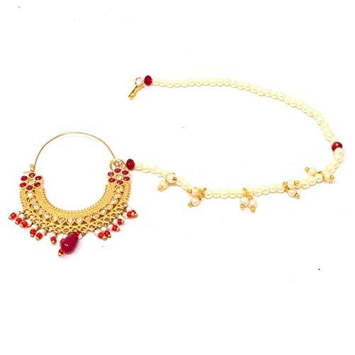 American Diamond studded Red color premium Rajasthani Nath
