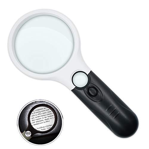 Lupe mit Licht 3X 45X, Beleuchtete Leselupe Vergrößerungsglas mit 3 LED, Hohe Klarheit & Leichtgewicht Handlupe für Senioren, Juwelier, Handwerk