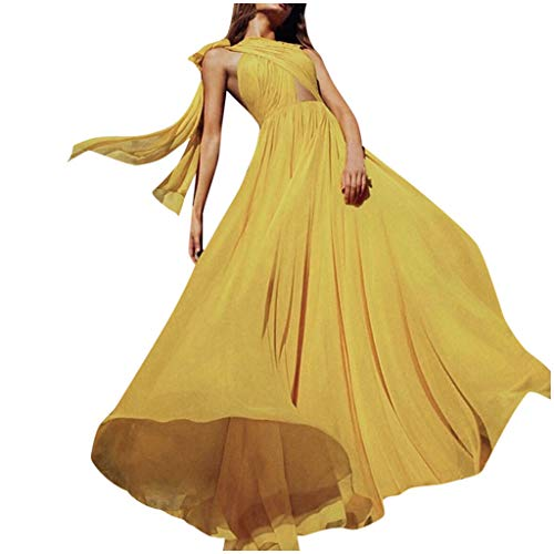 Great Deal! Witspace Women's Summer Fashion Wrap Chest Elegant Bow Chiffon Solid Dress