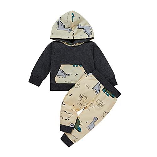 Conjunto de 2 pantalones con capucha y estampado de dinosaurios para bebés y niños pequeños, beige, 6-12 Meses
