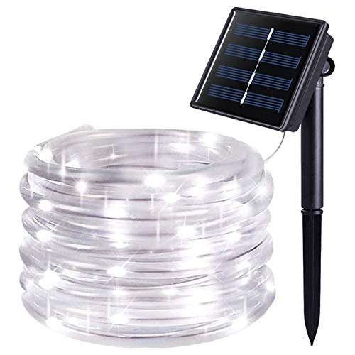 JMEXSUSS 120 LED Solar Powered Rope Lights Outdoor,39.4ft 8 Modes Solar Rope Lights,Waterproof Solar Rope Tube for Fence,Gazebo,Yard,Walkway,Path,Valentine