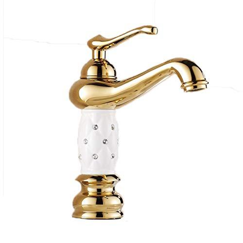 Gouden kraan voor kraan, warm en koud koper, eenvoudig gat, slinger, voor badkamer, voor 35 mm, kan worden geïnstalleerd