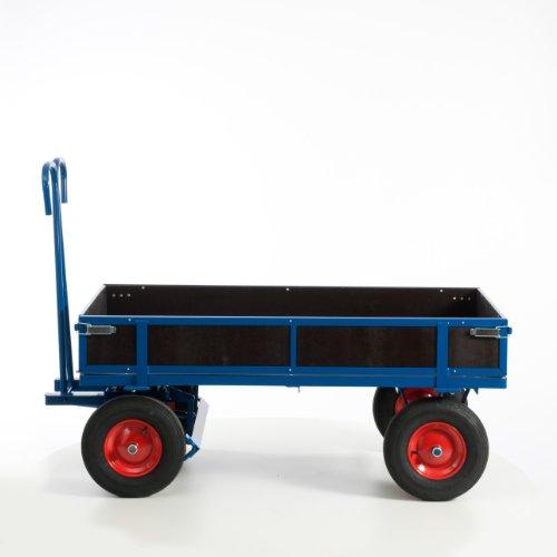 Rollcart 15-15121 Handpritschenwagen mit Holzbordwänden, RAL5010 enzianblau