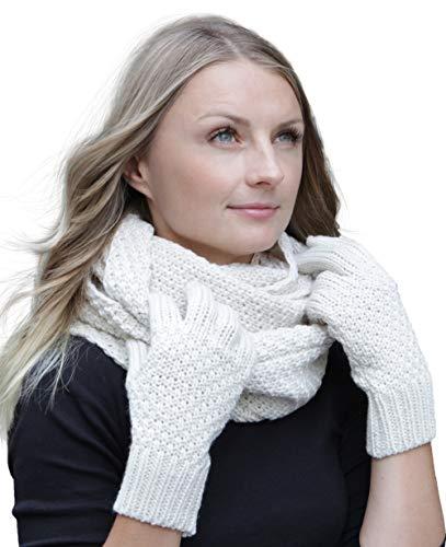 Hilltop Winter Kombi Set aus Winter Schal und wahlweise Handschuhe oder Handwärmer, 2-tlg, versch. Farben, WS Farbe/Zusammensetzung:Creme mit Handschuhen