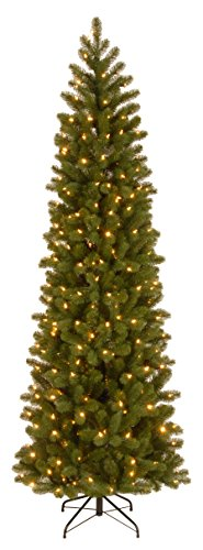 National Tree Company 'Feel Real' Pre-lit Artificial Christmas Tree | Includes Pre-strung Multi-Color LED Lights and Stand | Downswept Douglas Fir Pencil Slim - 6.5 ft