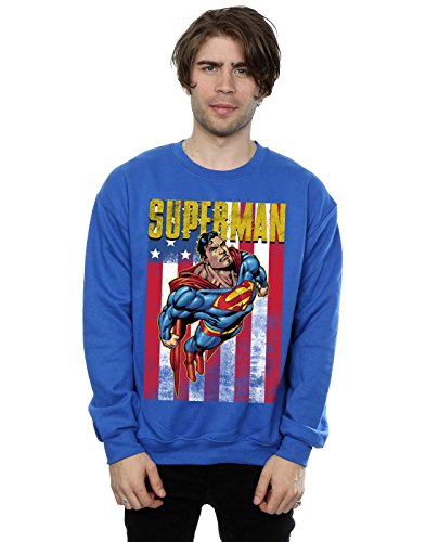 DC Comic Homme Superman Flight Sweat-Shirt Medium Bleu Royal