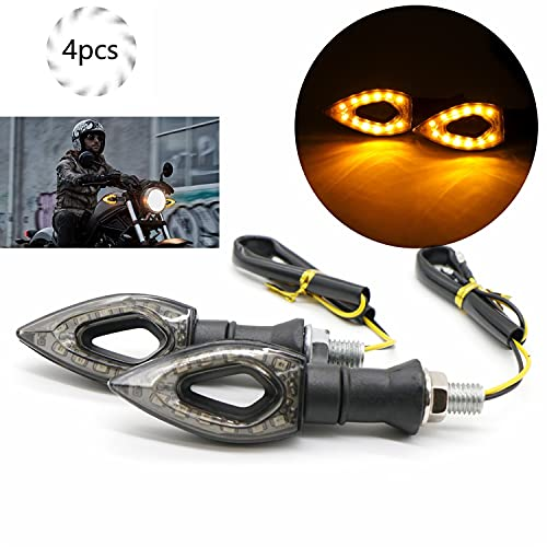 Intermitentes Moto, Universal 12V 14 LED Luces Indicador de Señal de Giro, 4pcs Mini Intermitente Moto, Ámbar Agua que Fluye de Señal de Giro, Intermitente Impermeable para Motocicleta (LED)
