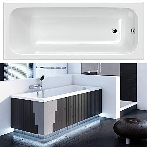 Lamco Badewanne Wanne BELL Acryl weiß   Rechteck   Ab- und Überlauf   Siphon   mit Schürze Verkleidung zum Verfliesen   140 x 70 cm