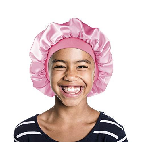 Sleep Cap for Kids Satin Hair Scarf Girls Night Head Wrap Floral Silk Nightcap