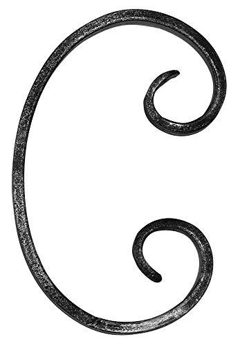 Fenau | C-Schnecke | Maße: 85x150 mm | Material: 12x5 mm | Stahl S235JR, roh| Zierteil aus Schmiedeeisen/Zierelement/Schnörkel für Metallzaun order Metalltor