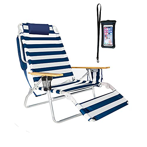 Deluxe 5 pos Lay Flat High Aluminum Beach Chair Lounge Chaise with Foot Rest, Large Storage, Waterproof Cell Pouch