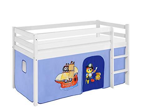 Lilokids Spielbett JELLE 90 x 190 cm Pirat Blau - Hochbett weiß - mit Vorhang