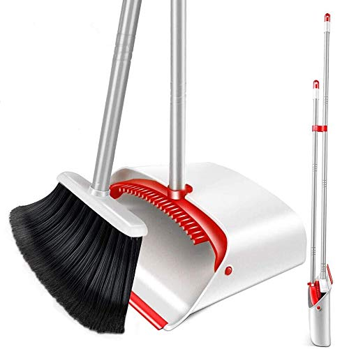 Upright Broom and Dustpan Set with 52' Long Handle Easy to Store Dust Pan Broom with Comb Household Cleaning Supplies Easy to Assemble for Home Kitchen Room Office Outdoor Indoor