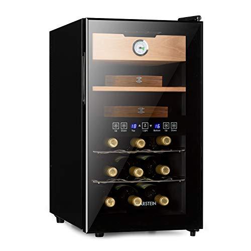Klarstein El Dorado Humidor & Weinkühlschrank, Volumen: 48 l, Leistung: 100W, Temperatur: 13-23 °C, 2 Kühlzonen, Glastür, LED-Display, Touch-Bedienfeld, freistehend, Schublade aus Zedernholz, schwarz