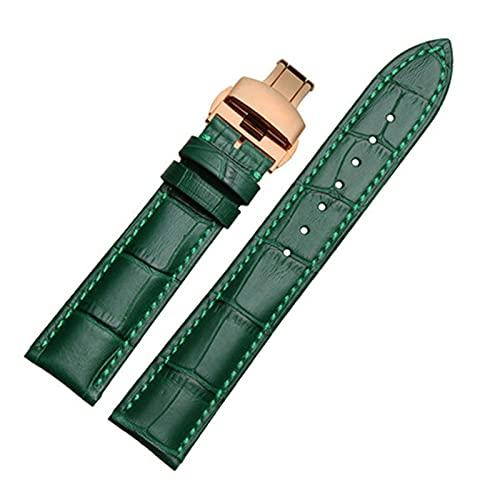 Green Bamboo Piel Genuina Correa de Reloj de la Mariposa Hebilla de Recambio Correas de Reloj para Hombres y Mujeres Pulsera de 12-22mm, Oro Rosa, 12mm