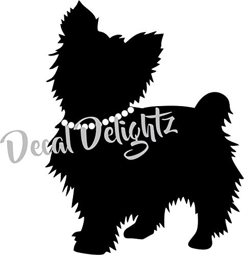 DKISEE Yorkie W/Parel Ketting Decal - Silhouette Yorkshire Terrier Hond Parel Choker Personaliseren Vinyl Auto Decal Laptop Decal Venster Muursticker 5 inch Onecolor