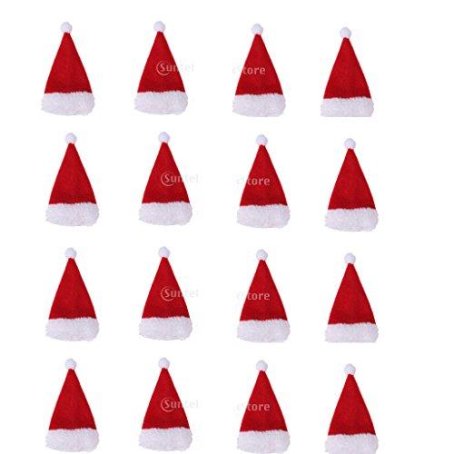 B Blesiya 16 Stück Mini Weihnachtsmütze kleine Nikolausmützen Puppenmützen Eierwärmer