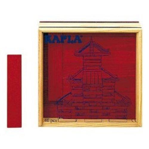 KAPLA 9000153 Holzplättchen 40-teilig in Box Rot