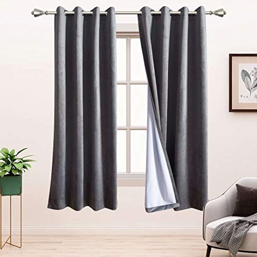 BONZER 100% Blackout Curtains for Bedroom - Premium Thick Velvet Curtains 45 Inches Long Thermal...