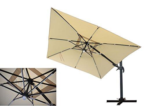 LED Leisten Kurbel Ampelschirm Moonlight Quadro Natur 300 x 300, inklusive Ständer, sowohl axial als auch am Mast verstellbar, UV-Schutz 60 Plus, Mandalika Garden
