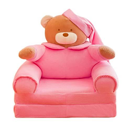 NUOBESTY Keine Füllung Rosa Plüschbär Faltbar Kinder Sofabezug Rückenlehne Stuhl Klapp auf Schlafsofa Bettbezug Stuhl Kleinkind Liege Ersatzbezug Kleinkind Sessel