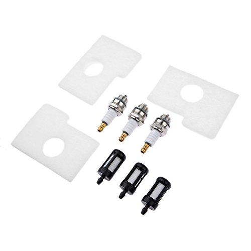 Hicello Kit de bujías de filtro de aire de combustible para motosierra STIHL MS180 MS170 018 017