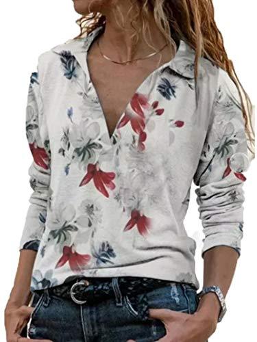 SLYZ Damas Europeas Y Americanas Primavera Cuello En V Camisa Estampada De Manga Larga Casual Top Camiseta Mujer