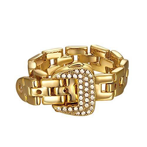Anel de moda ajustável, joia feminina, design europeu e americano, fivela de cinto de cristal de corrente macia de metal