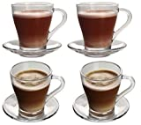 EVER RICH ® 250ML Tea Coffee Latte Glass Cup Mug with Saucer (4 Glasses + Saucer)