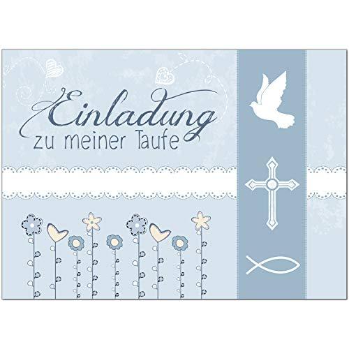 15 x Einladung zur Taufe/Einladungskarten mit Umschlag im Set/Motiv: Einladung zu meiner Taufe Vintage Blau/Baby Taufkarte/Grußkarte/Postkarte /