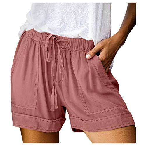 High Waist Shorts Damen Sommer Große Größen Kurze Hose mit Gummizug Stretch / Vintage Casual Sommerhose Sport Yoga Sweatpants Laufshorts Kurz Hosen Sports Gym Running Hotpant Schlafhose Sporthose