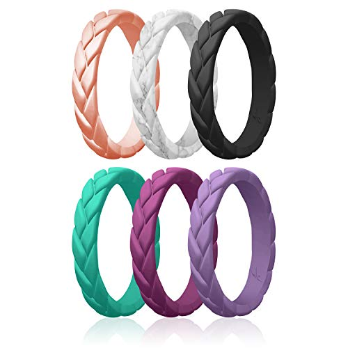 ROQ Silicone Rings for Women Multipack of 6 Womens Silicone Rubber Wedding Rings Bands Flame Leaves - Rose Gold, Marble, Black, Turquoise, Argaman Purple, Lavender Colors - Size 6