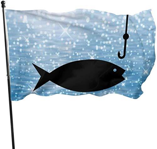 YJWLO Angelrute Clipart langlebige saisonale Flaggen für den Innen- und Außenbereich, 90 x 150 cm, Polyester, Schwarz , Einheitsgröße