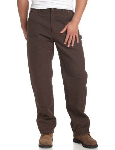 Carhartt Men's Washed Duck Double Front Dungaree, Dark Brown, 34W X 34L