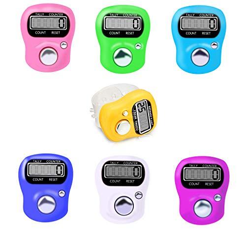 SANKESONG 6 Pcs Contador de Dedos, con 5 LED Digital Electrónico, Conveniente Mini Electrónico Digital Contador Dedo Anillo Golf Marcador de Punto de dígitos LCD Contador (Color Aleatorio)