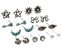 Woo2u ピアス イヤリング レディース オシャレ プレゼント パーティー 通勤 シンプル 人造ダイヤモンド 人造宝石 誕生日 18点セット シルバー