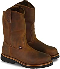 "Thorogood 804-3310 Men's American Heritage 11\"" Wellinton Round Toe, MAXwear 90 Safety Toe Boot, Trail Crazyhorse (Black Sole) - 10 D"