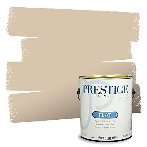Prestige Paints Interior Paint and Primer In One, 1-Gallon, Flat, Comparable Match of Sherwin Williams* Kilim Beige*