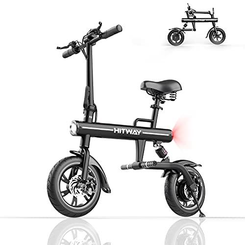 HITWAY, Bicicleta eléctrica Plegable de Aluminio con neumáticos de 12 Pulgadas, Pantalla...