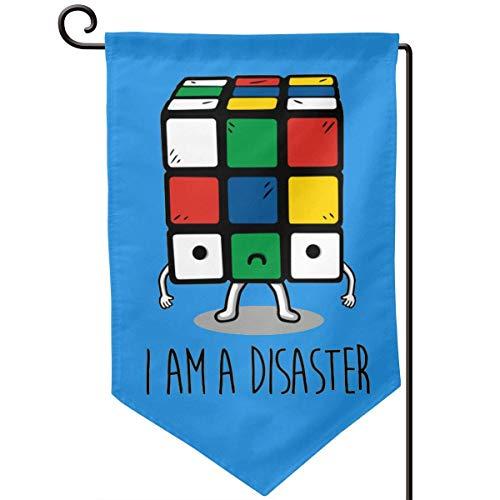 Rubik Cube I Am A Disaster Bandera de jardín Decoración navideña Bandera de doble cara 12.5'X 18'