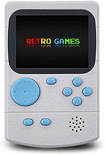 Xyfw Bolsillo De Game Boy, De Dobles Juegos Portátiles Consola con 500 Juegos Clásicos Y 800Mah Batería Recargable Y Soporte Conexión del Televisor,Blanco