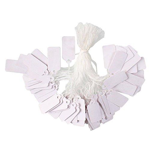 PH PandaHall pandahall Rosenblätter aus//Tüte rechteckigen Blanko Jewelry Display Papier Preis Tags mit Baumwolle Kordel Größe 26x 16x 0,2mm Weiß Art Deco 23x13mm Retangle White-1000 Pcs