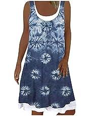 Letnia sukienka damska, bez rękawów, sukienka midi, w stylu boho, z dekoltem w kształcie litery U, na plażę, na imprezę
