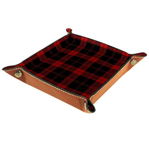 Leather Valet Tray Organizer Black Red Tartan Plaid, Men Women Jewelry Catchall, Desk Storage Plate for Watches Keys Coins Phone Wallet
