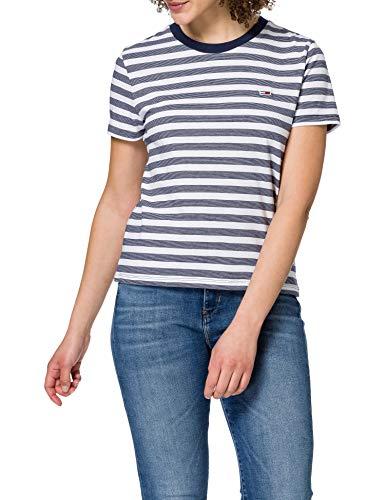 Tommy Jeans TJW Tommy Classics Stripe tee Camiseta, Rayas blancas/azul marino crepuscular,...